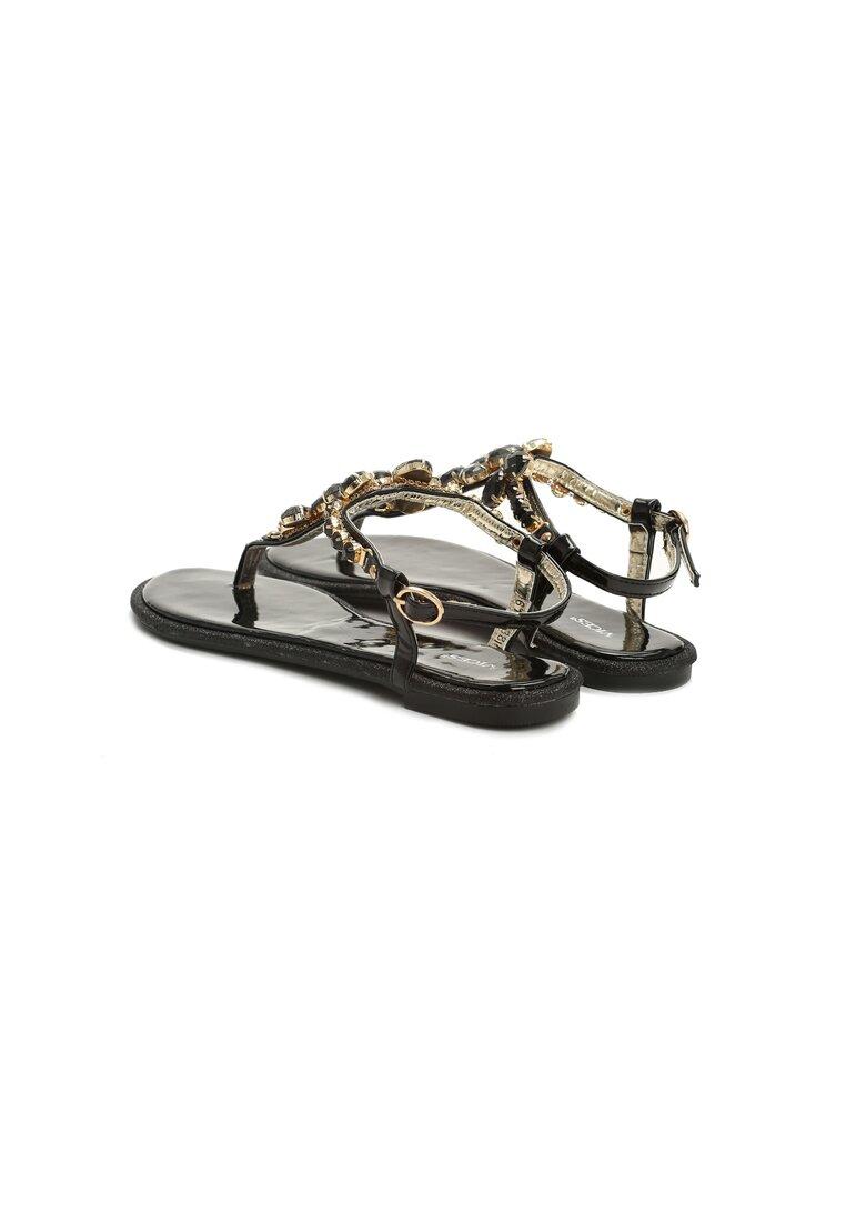 Czarne Sandały Gemstones