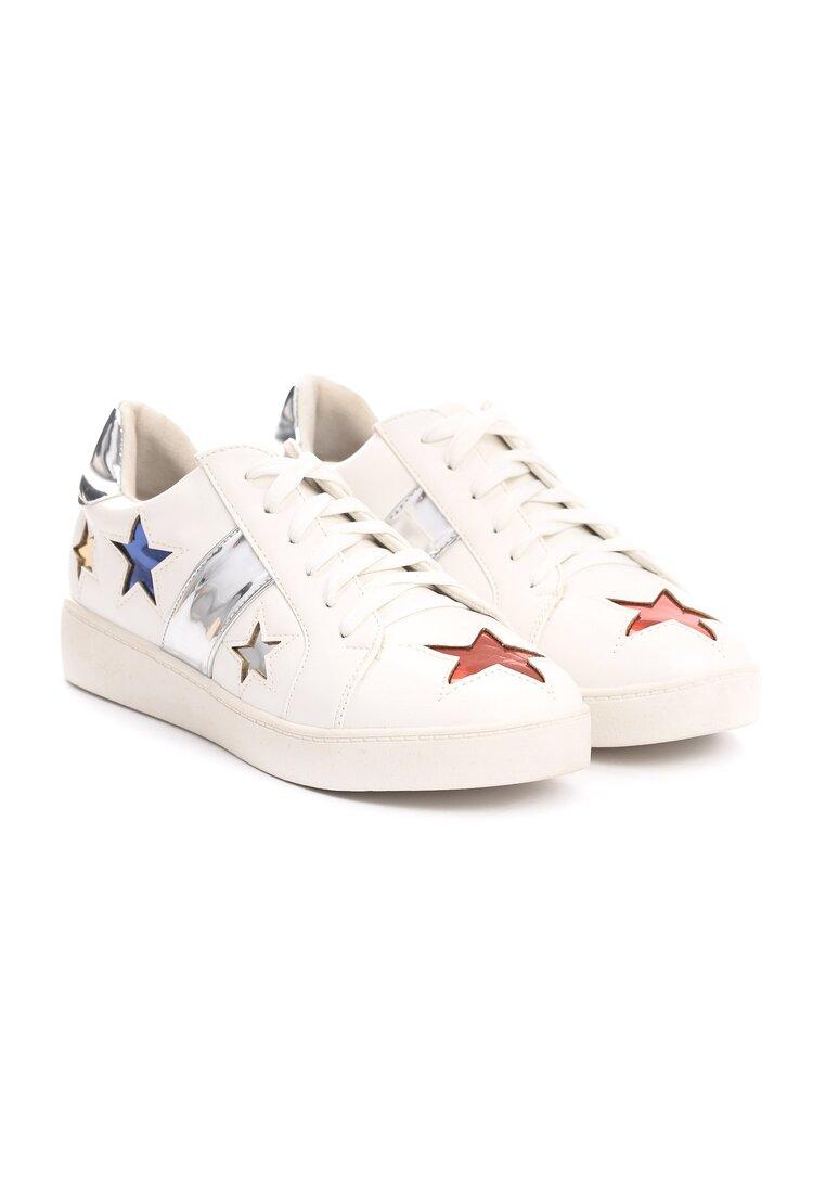 Biało-Srebrne Buty Sportowe Teran