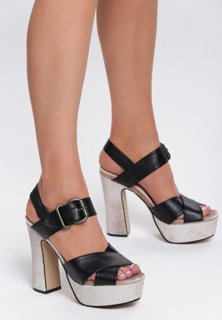 Czarno-Beżowe Sandały Black Row