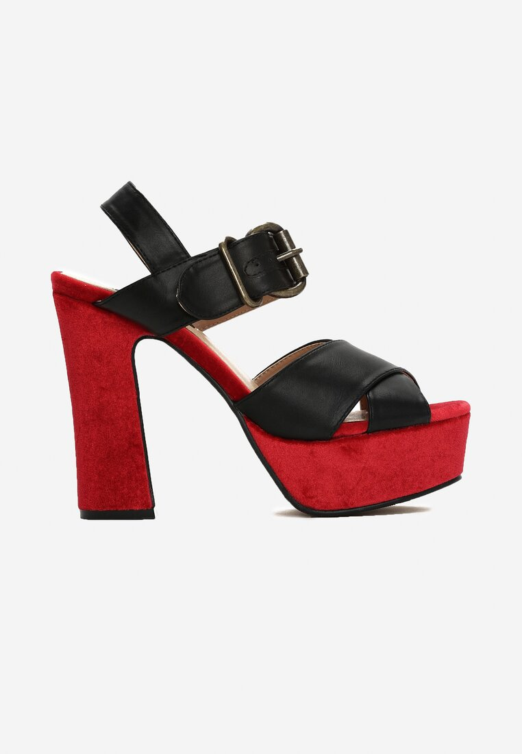 Czarno-Czerwone Sandały Black Row
