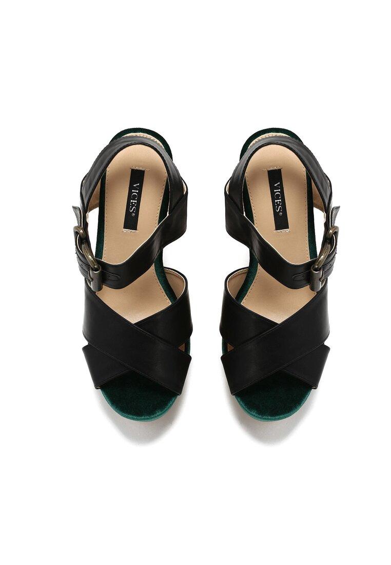 Czarno-Zielone Sandały Black Row