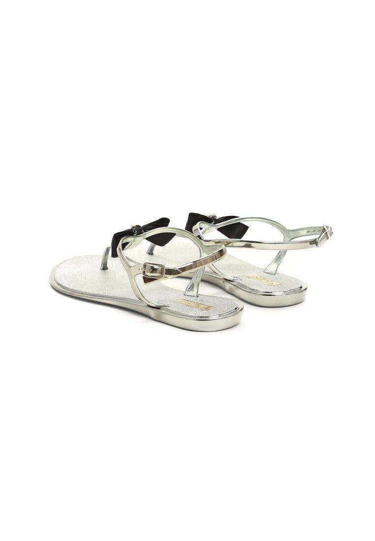 Ciemnosrebrne Sandały Pearl Bow