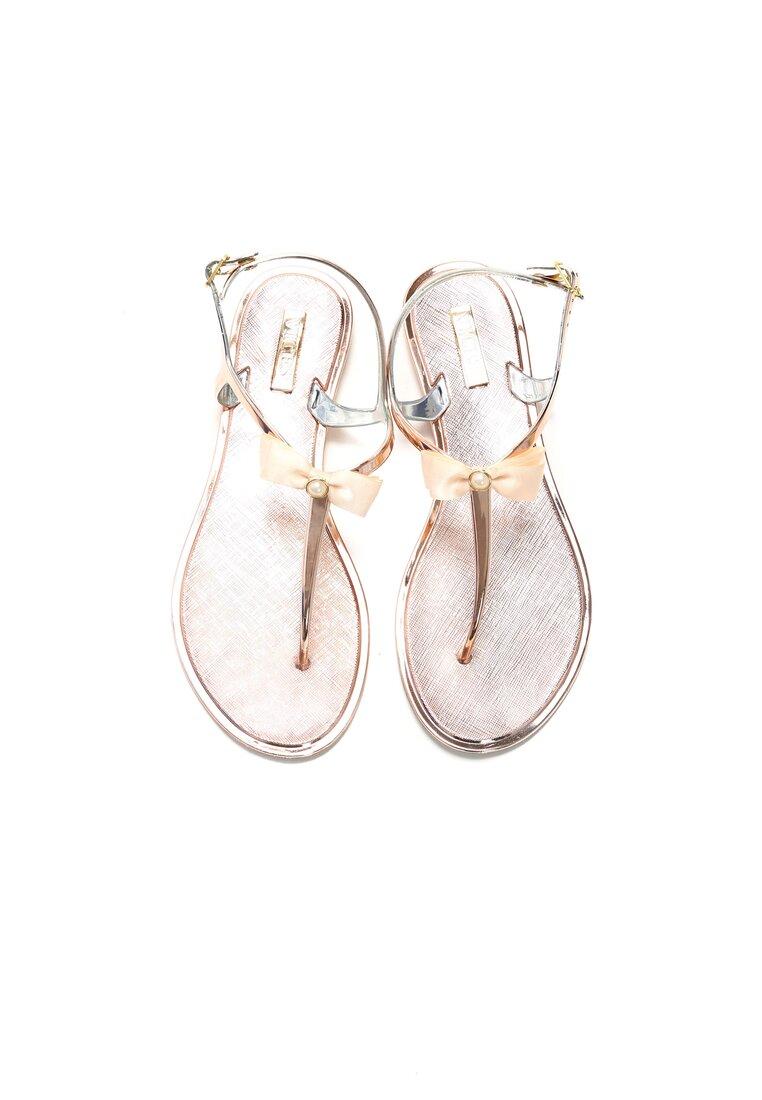 Różowe Sandały Pearl Bow