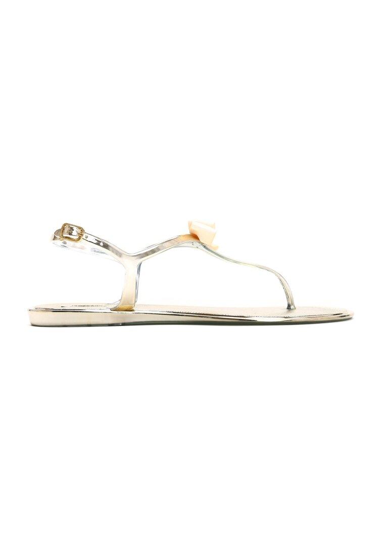 Złote Sandały Pearl Bow
