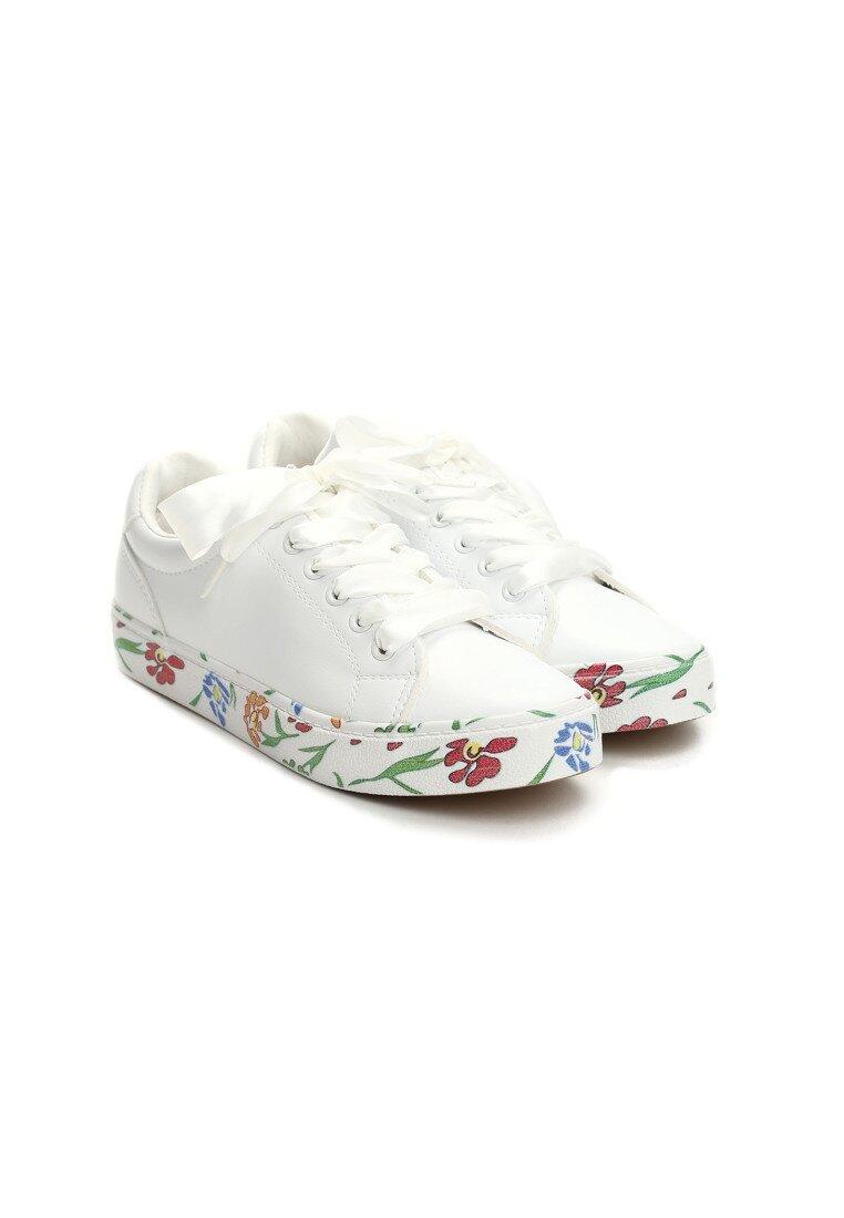Białe Trampki Lucky Flower