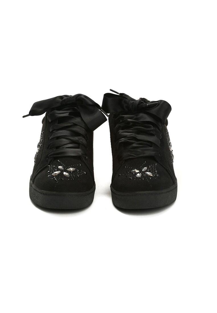 Czarne Buty Sportowe Sateen