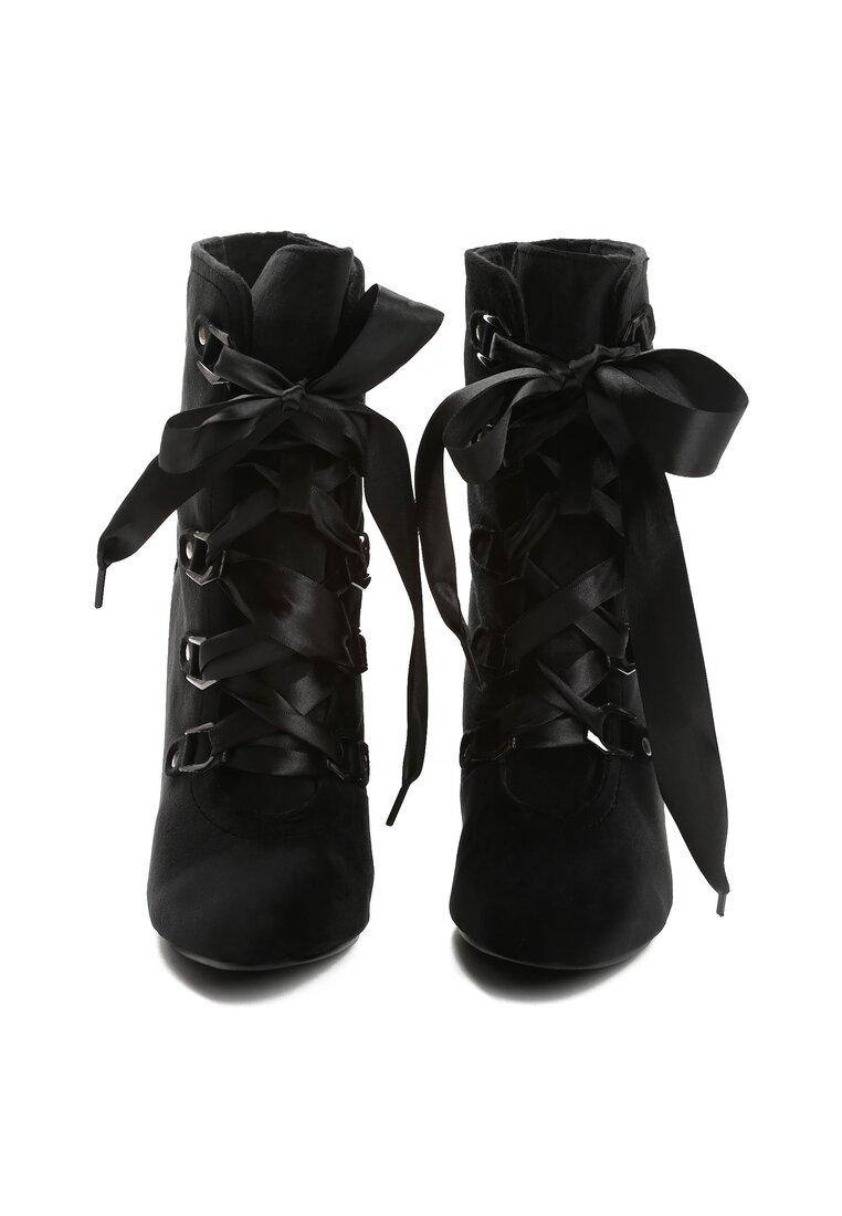 Czarne Welurowe Botki Soft Walk