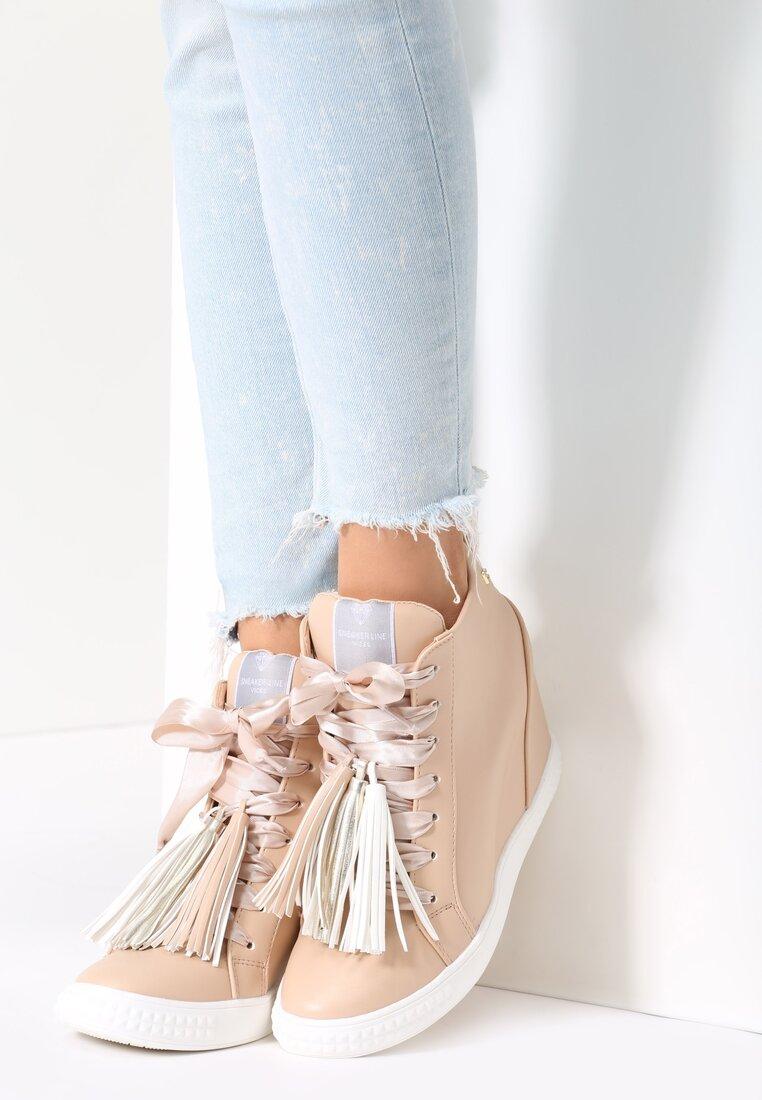 Beżowe Sneakersy Honeymoon