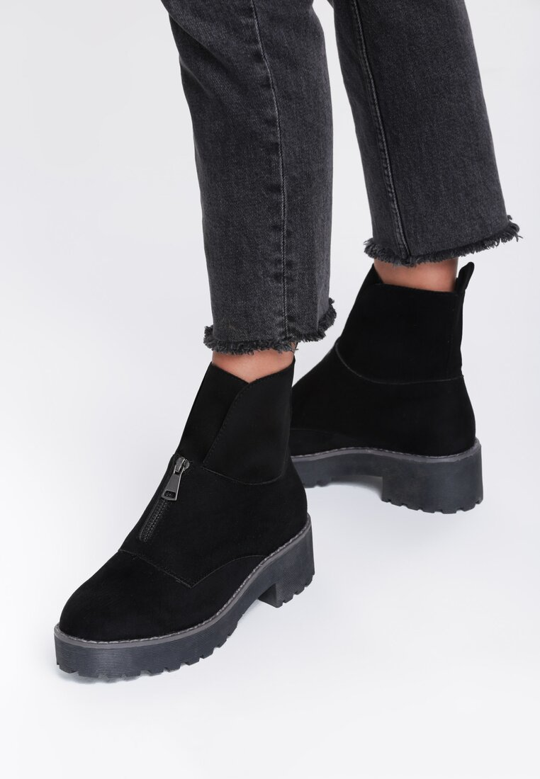 Czarne Zamszowe Botki Dancing Barefoot