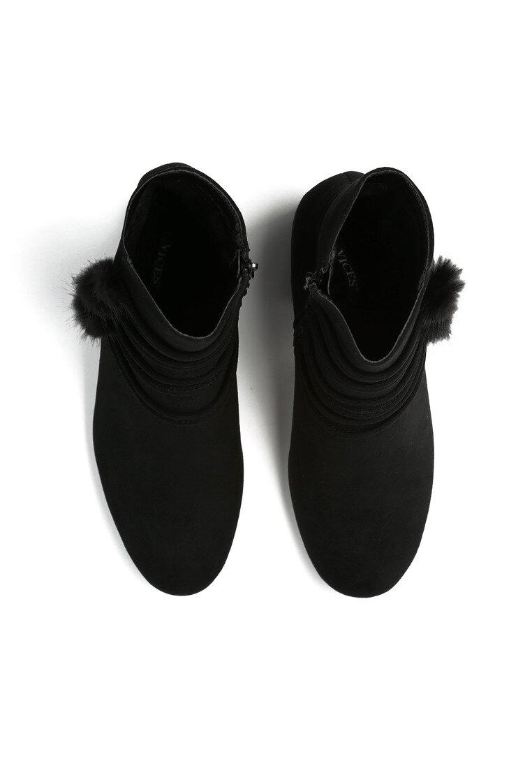 Czarne Botki Pompom