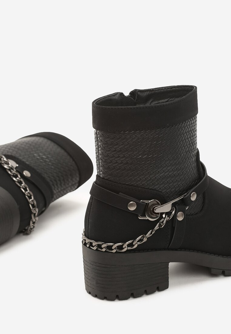 Czarne Matowe Botki Anklecuff