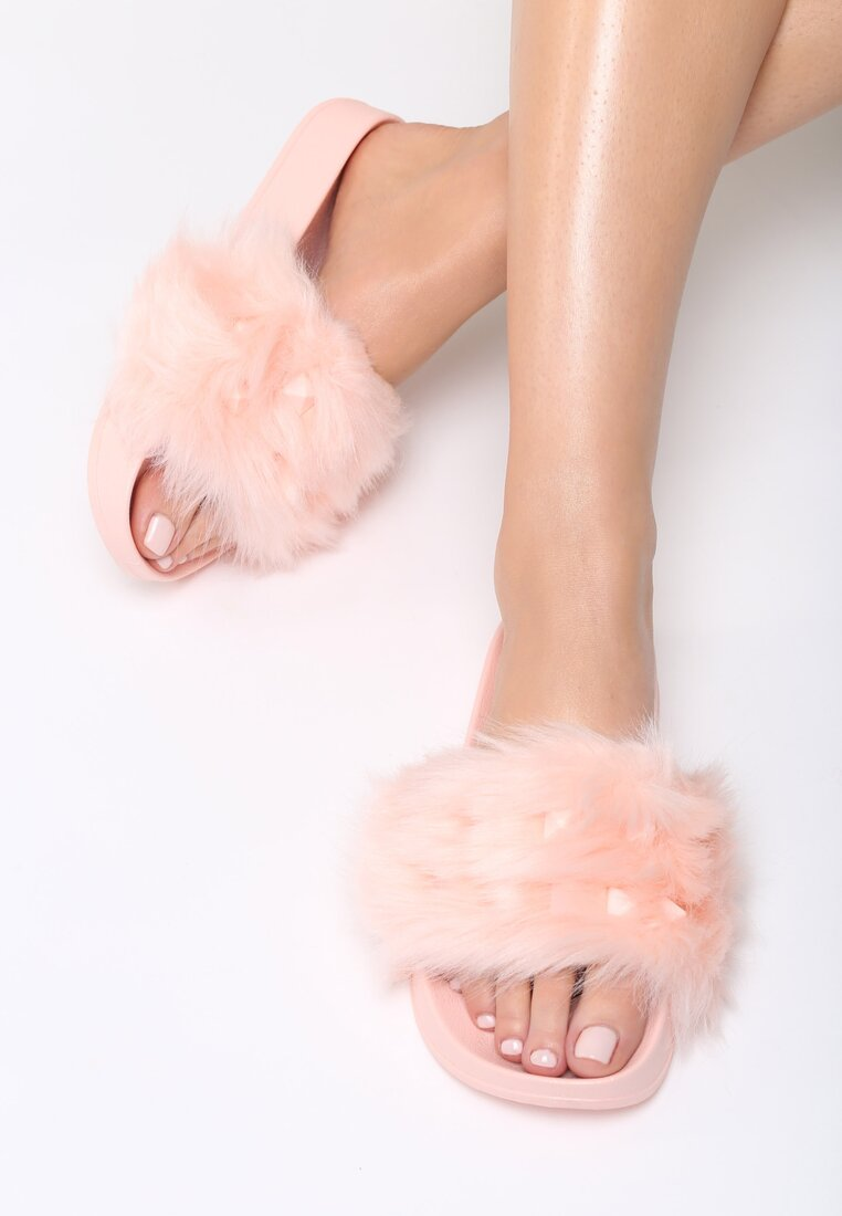 Różowe Klapki Fluffy Bunny