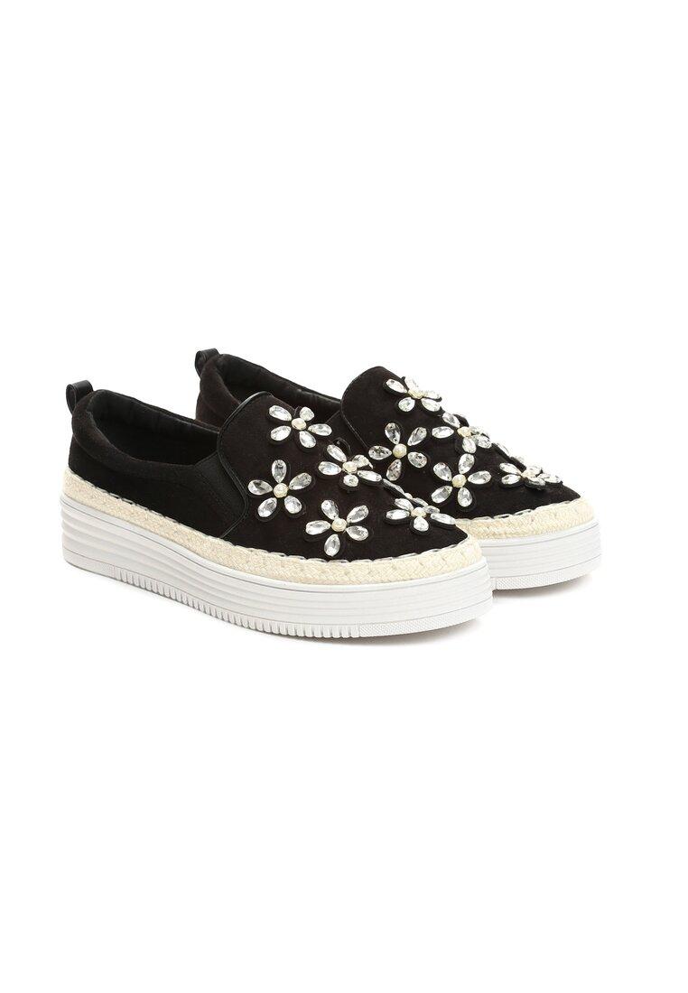 Czarne Slip On Ice Flower