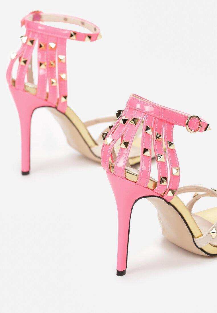 Beżowo-Fuksjowe Sandały Exemplary