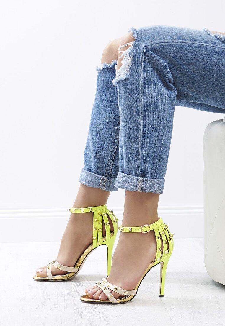 Beżowo-Zielone Sandały Exemplary