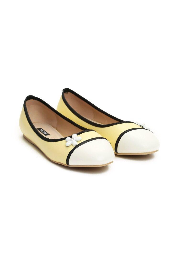 Żółte Balerinki White Daisy