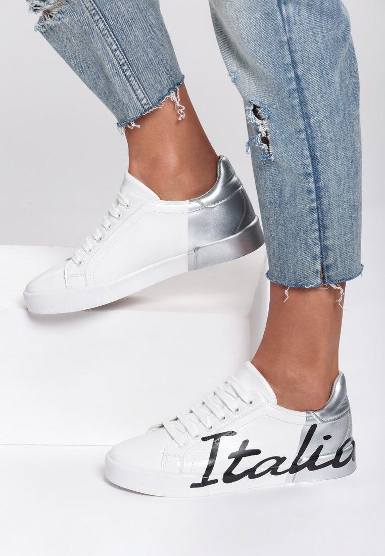 Biało-Srebrne Sneakersy Hashtag