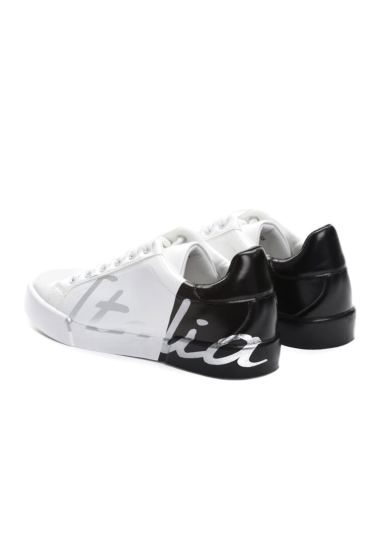 Biało-Czarne Buty Sportowe Hashtag