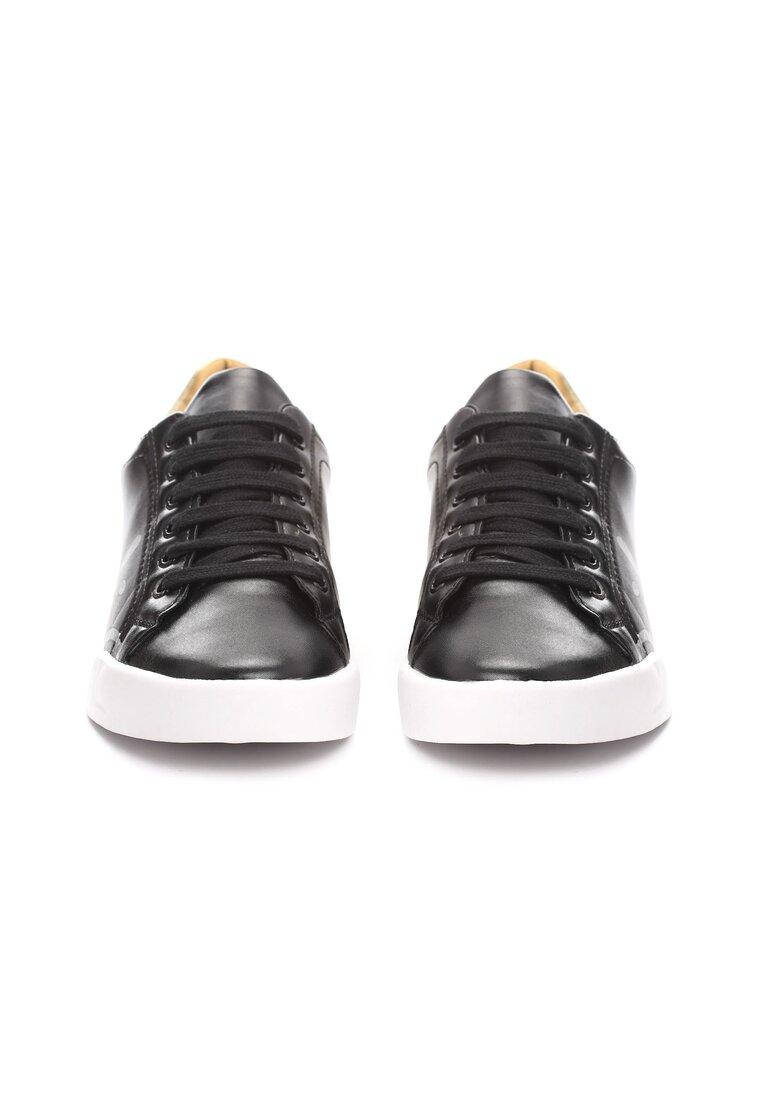 Czarno-Złote Buty Sportowe Hashtag