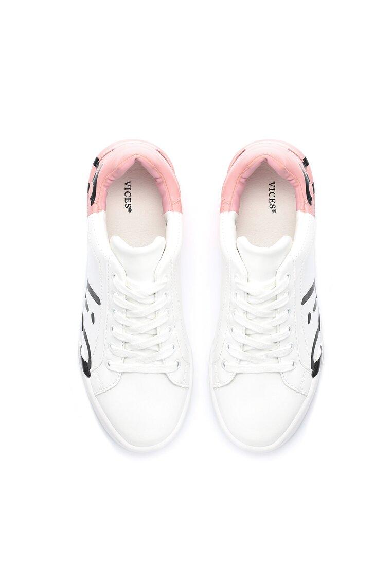 Biało-Różowe Buty Sportowe Hashtag