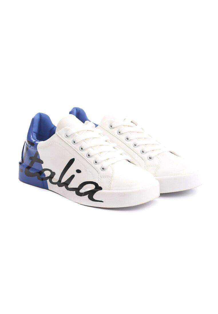 Biało-Niebieskie Buty Sportowe Hashtag