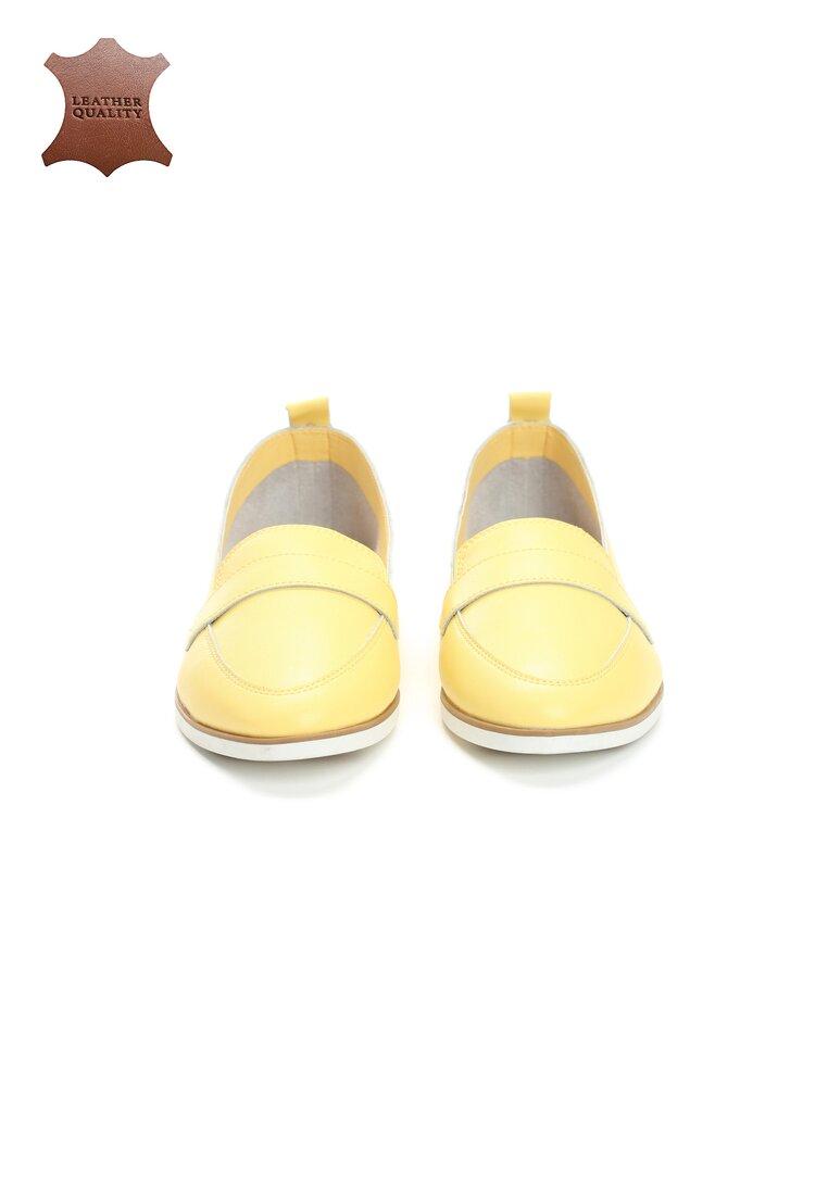 Żółte Skórzane Mokasyny Set Free