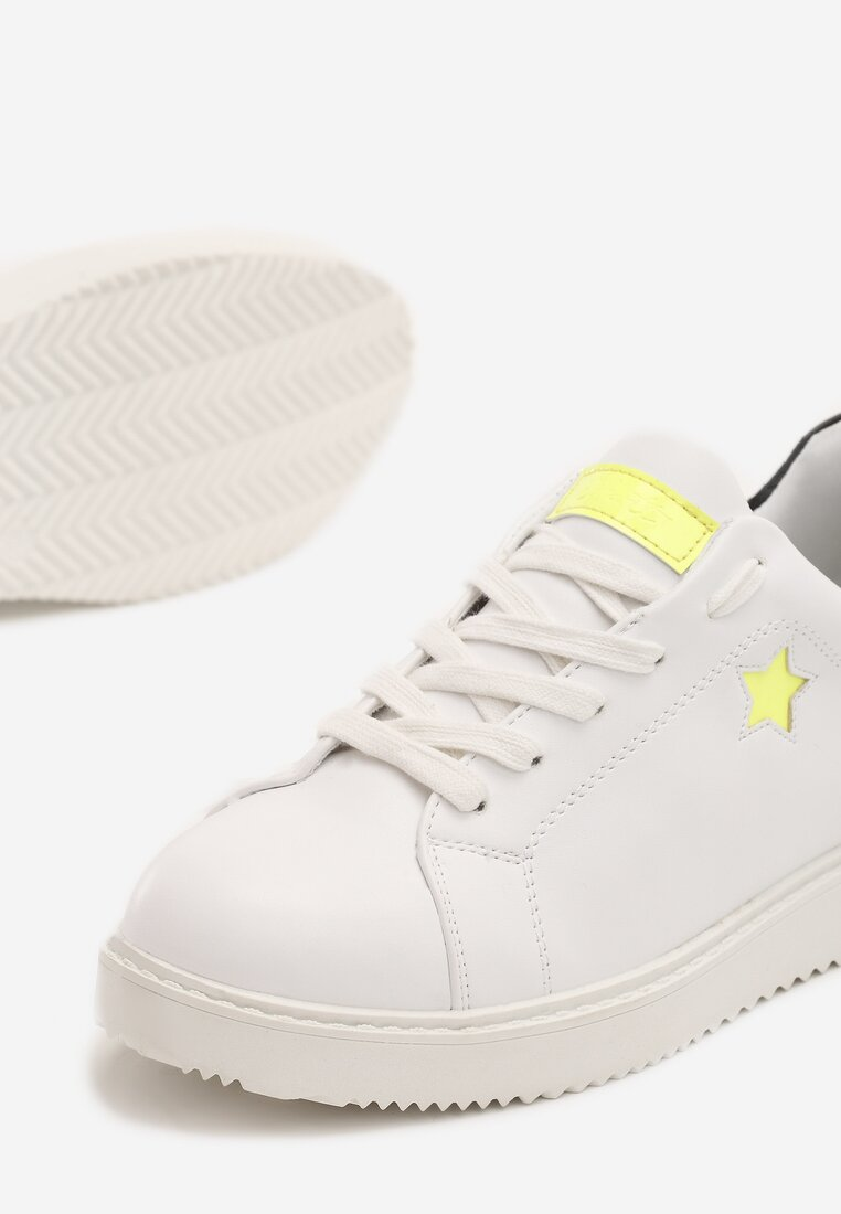 Biało-Limonkowe Sneakersy Missing You
