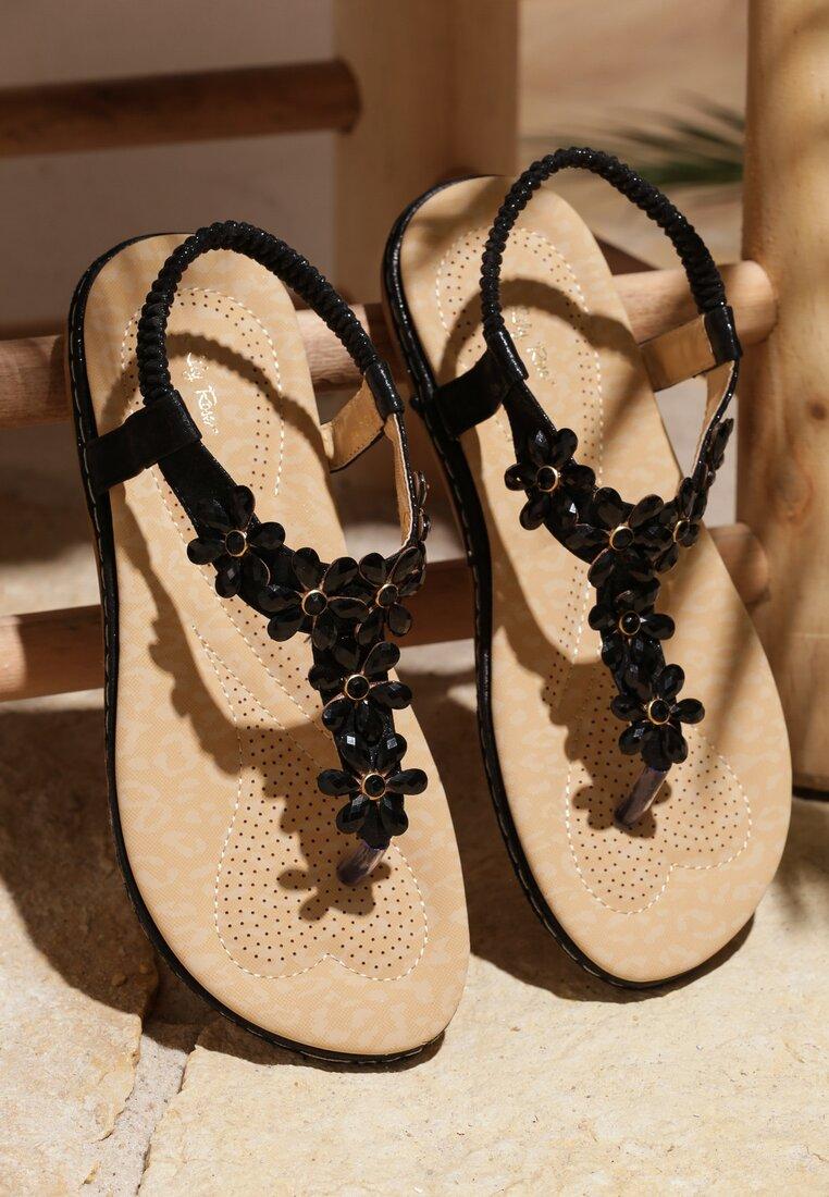 Czarne Sandały Poinsettia