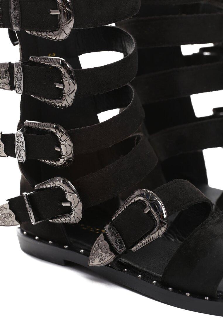 Czarne Zamszowe Sandały Black Lilie