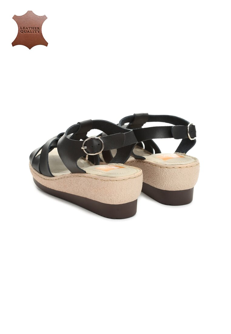 Czarne Skórzane Sandały Roar