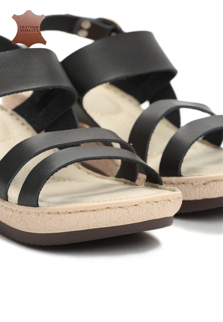 Czarne Skórzane Sandały High Hopes