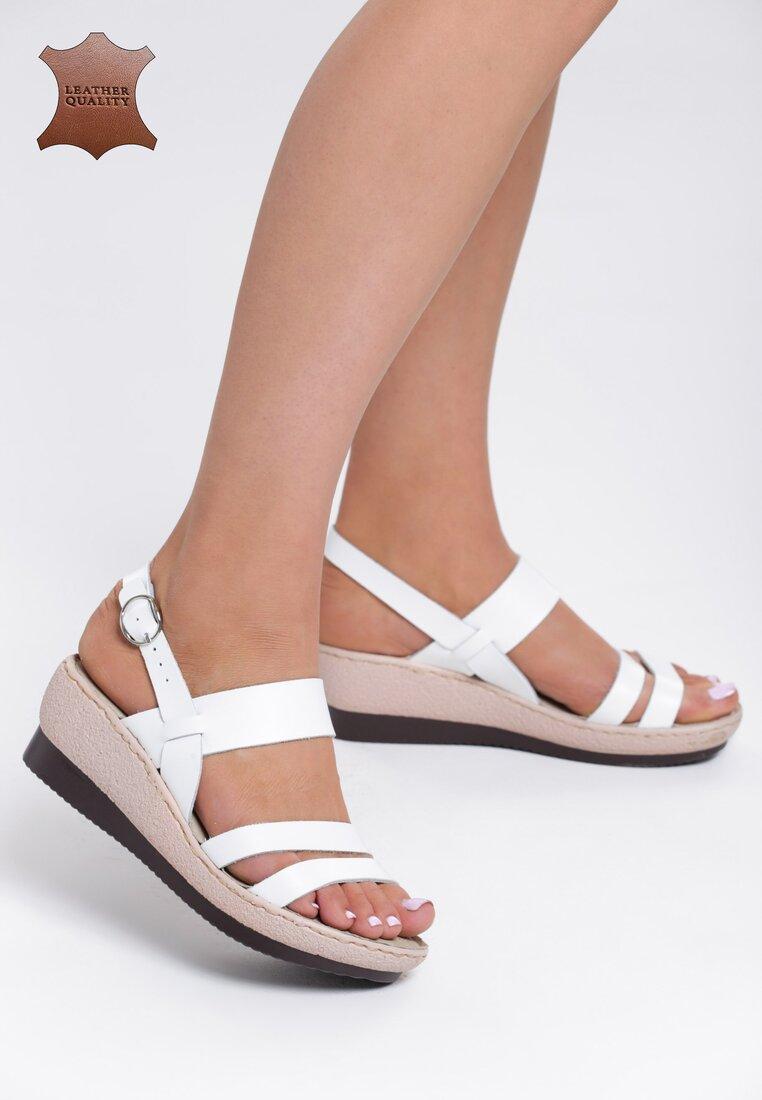Białe Skórzane Sandały High Hopes