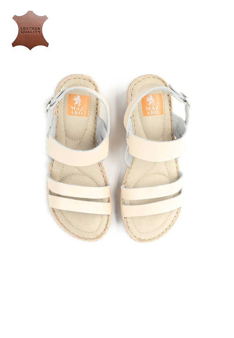 Beżowe Skórzane Sandały Show Me