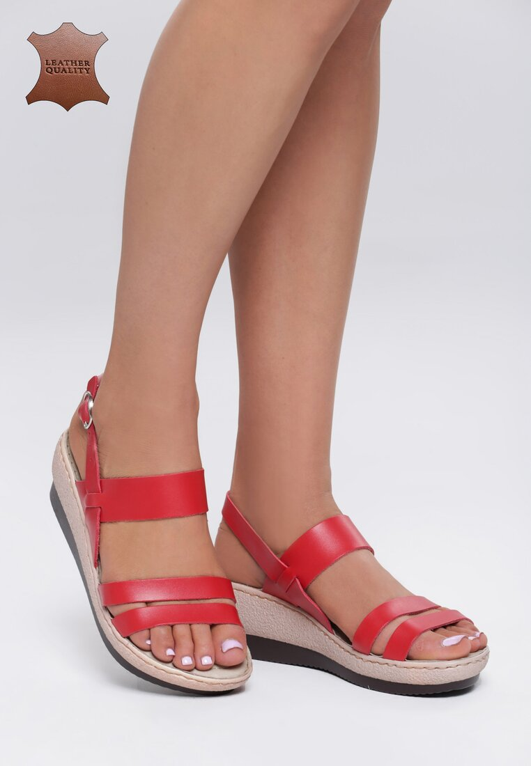 Czerwone Skórzane Sandały High Hopes