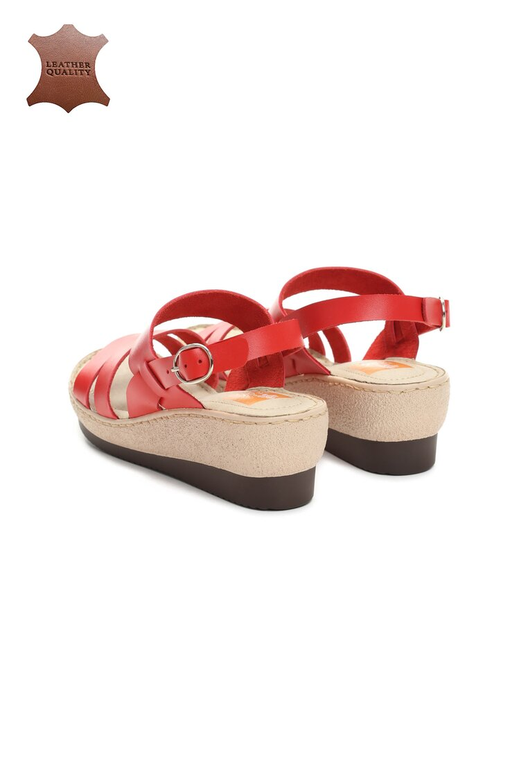 Czerwone Skórzane Sandały Show Me