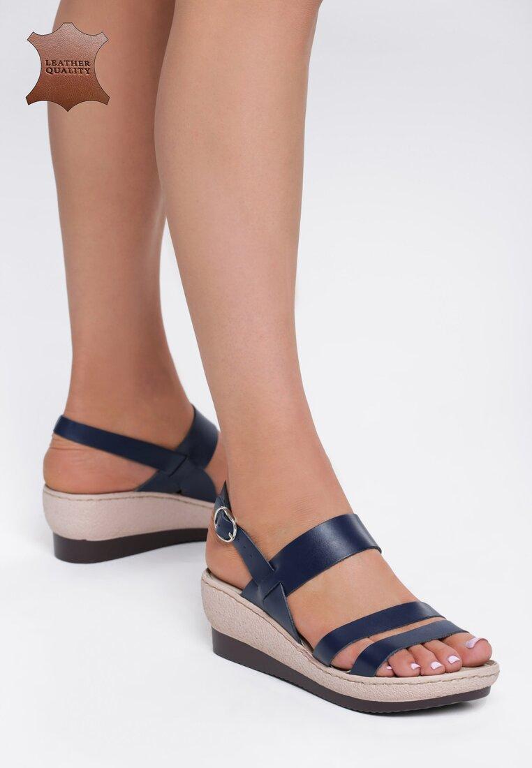 Granatowe Skórzane Sandały Show Me