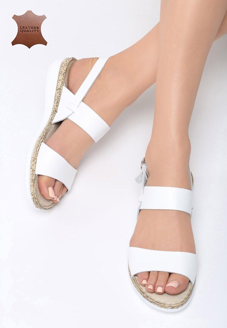 Białe Skórzane Sandały Escape Gravity
