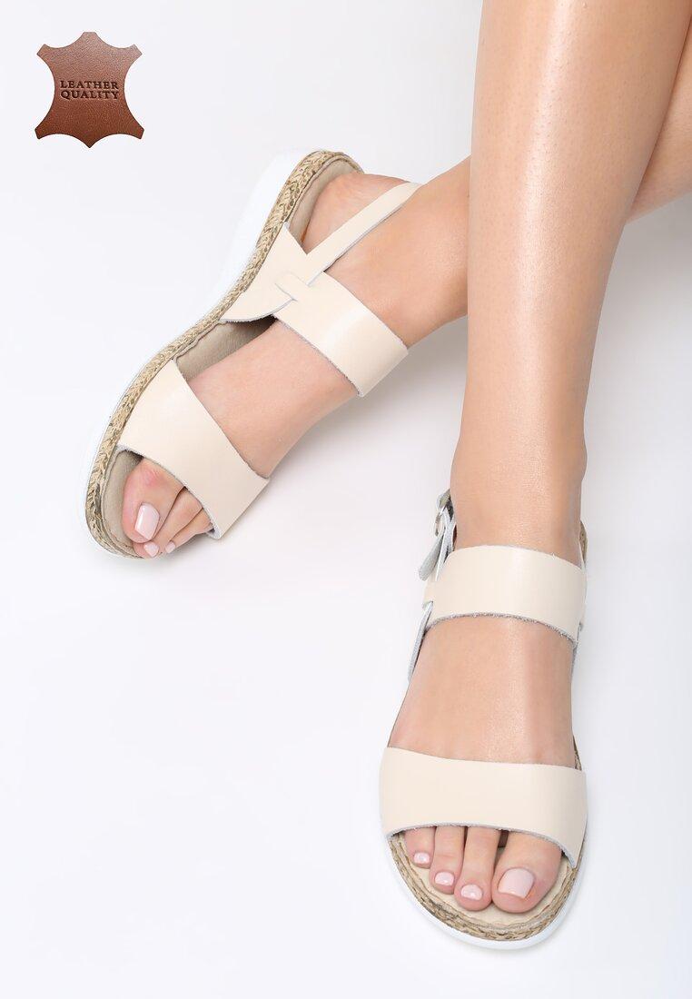 Beżowe Skórzane Sandały Escape Gravity