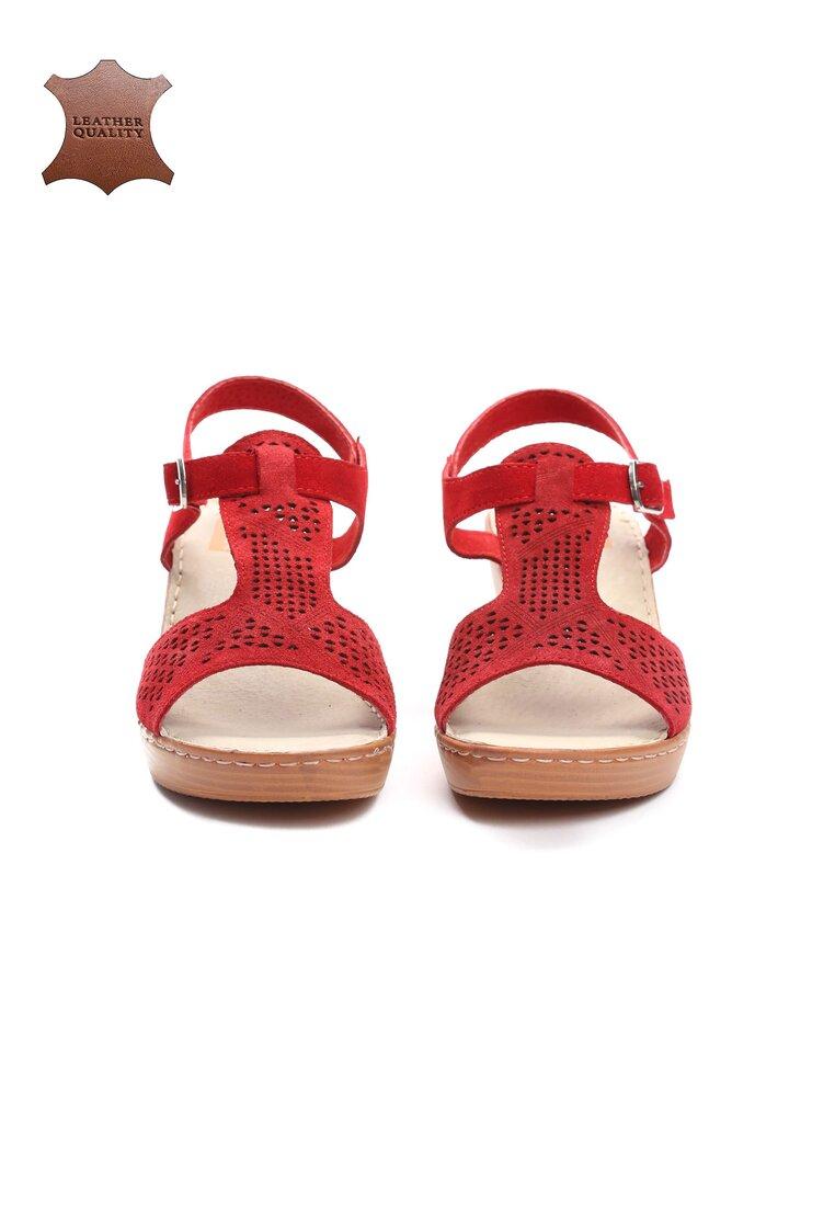 Czerwone Skórzane Sandały Chasing Cars