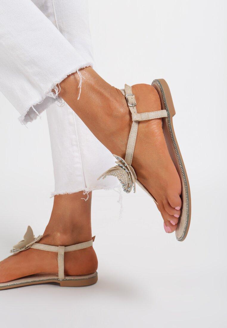 Beżowe Sandały Flashy Pink