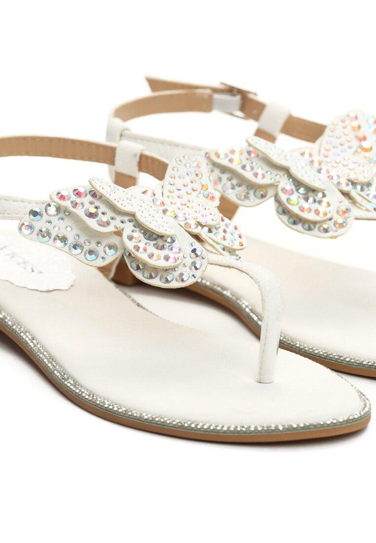 Białe Sandały Flashy Pink